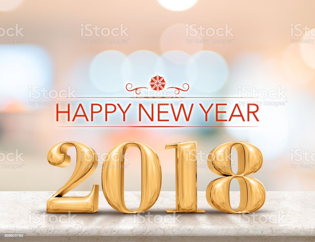 Happy new year 2018 (3d rendering) golden color new year on glossy marble table top with blur abstract bokeh background,Holiday greeting card. stock photo