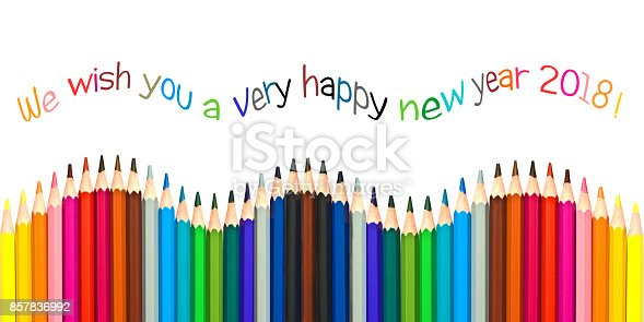 istock Happy new year 2018 greeting card , colorful pencils isolated on white background 857836992
