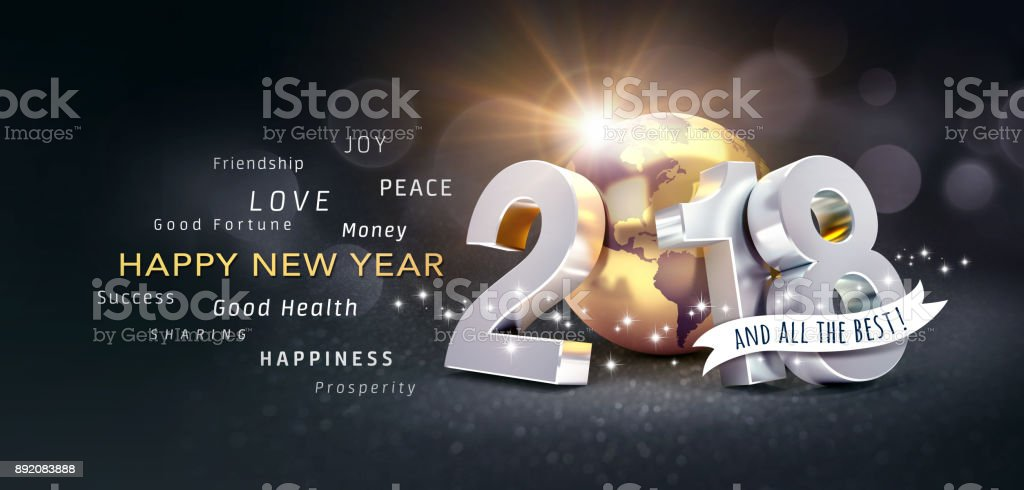 happy new year 2018 greeting card for all the best royalty free stock photo