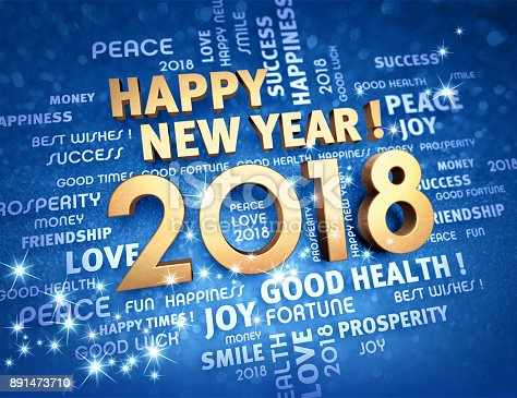 istock Happy New Year 2018 Greeting card 891473710