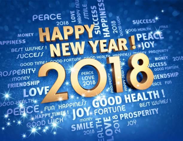 happy new year 2018 greeting card - erfolgreich wünschen stock-fotos und bilder