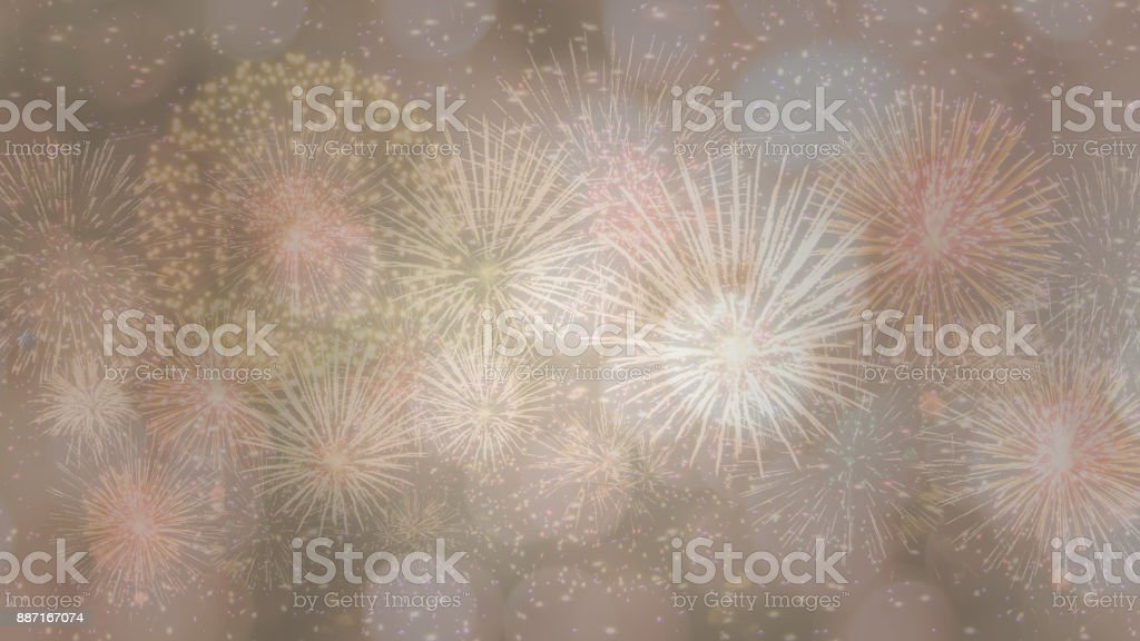 Happy New Year 2018 hand-lettering text on firework background. Photo Photoshop. stock photo
