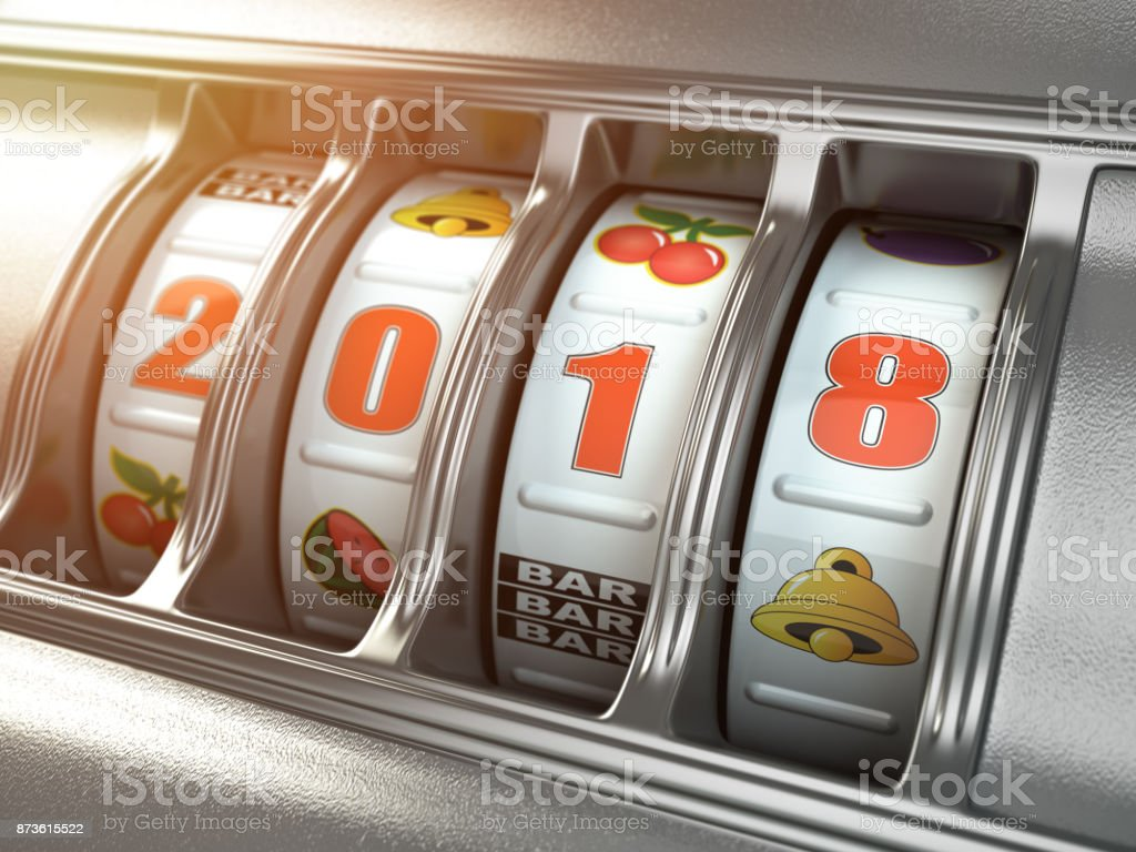 Happy New Year 2018 in casino. Slot machine with number 2018. stock photo