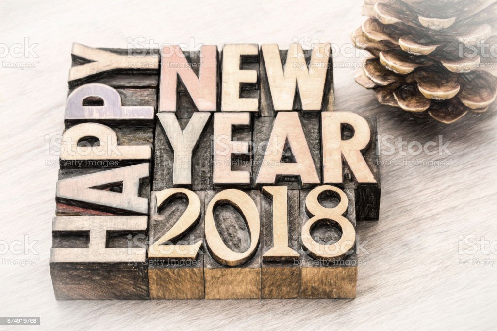 Happy New Year 2018 in wood type stock photo