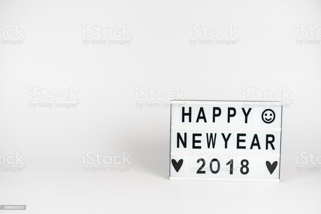 Happy New Year 2018 Letter In Lightbox White Background Stock Photo ...