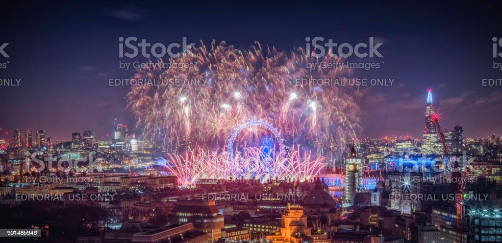 Happy New Year 2018 LONDON stock photo