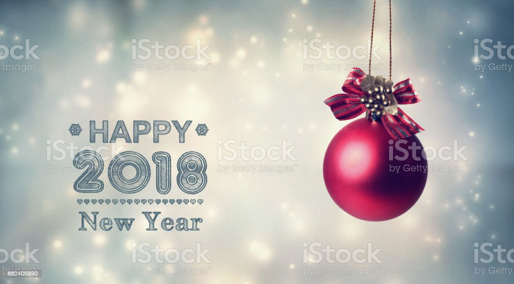 happy new year 2018 message with a hanging bauble royalty free stock photo