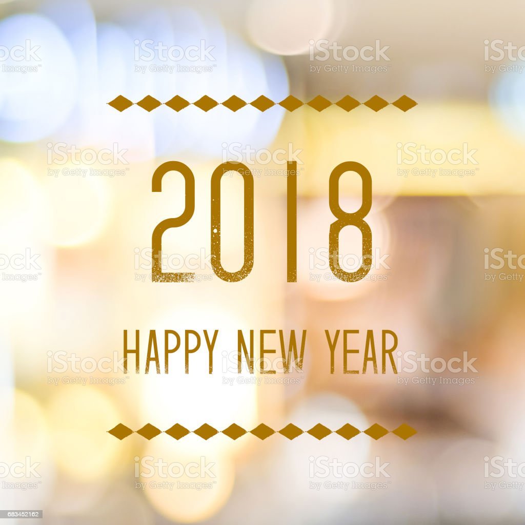 happy new year 2018 on abstract blur festive bokeh background banner royalty free stock