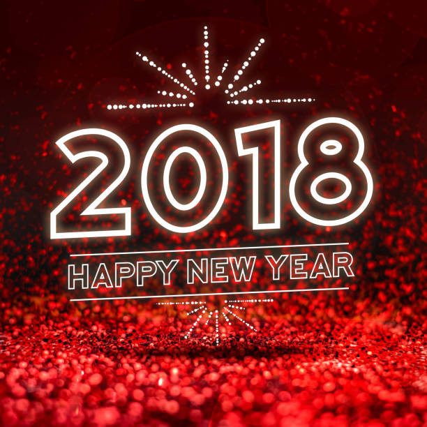 happy new year 2018  on Abstract red glitter studio perspective background,Holiday seasonal greeting card stock photo