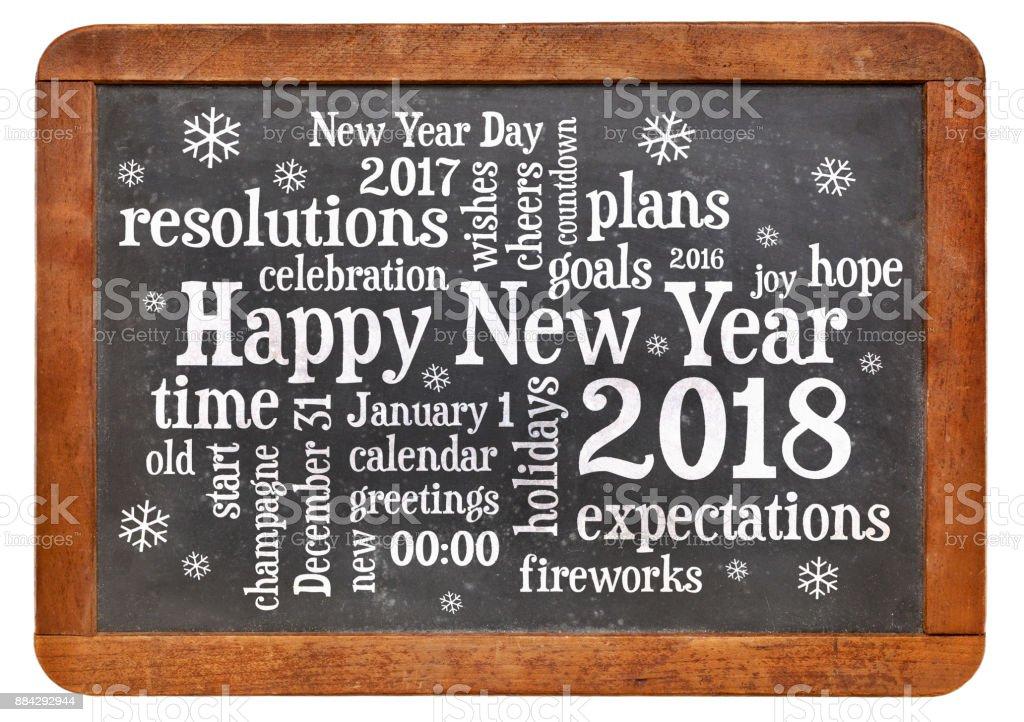 Happy New Year 2018 on blackboard stock photo