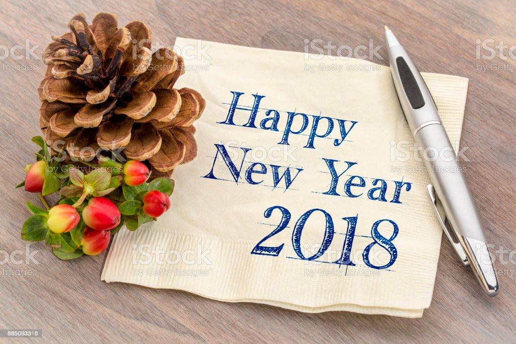 Happy New Year 2018 on napkin stock photo
