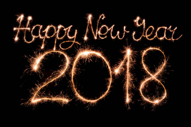 Happy new year 2018 stock photo