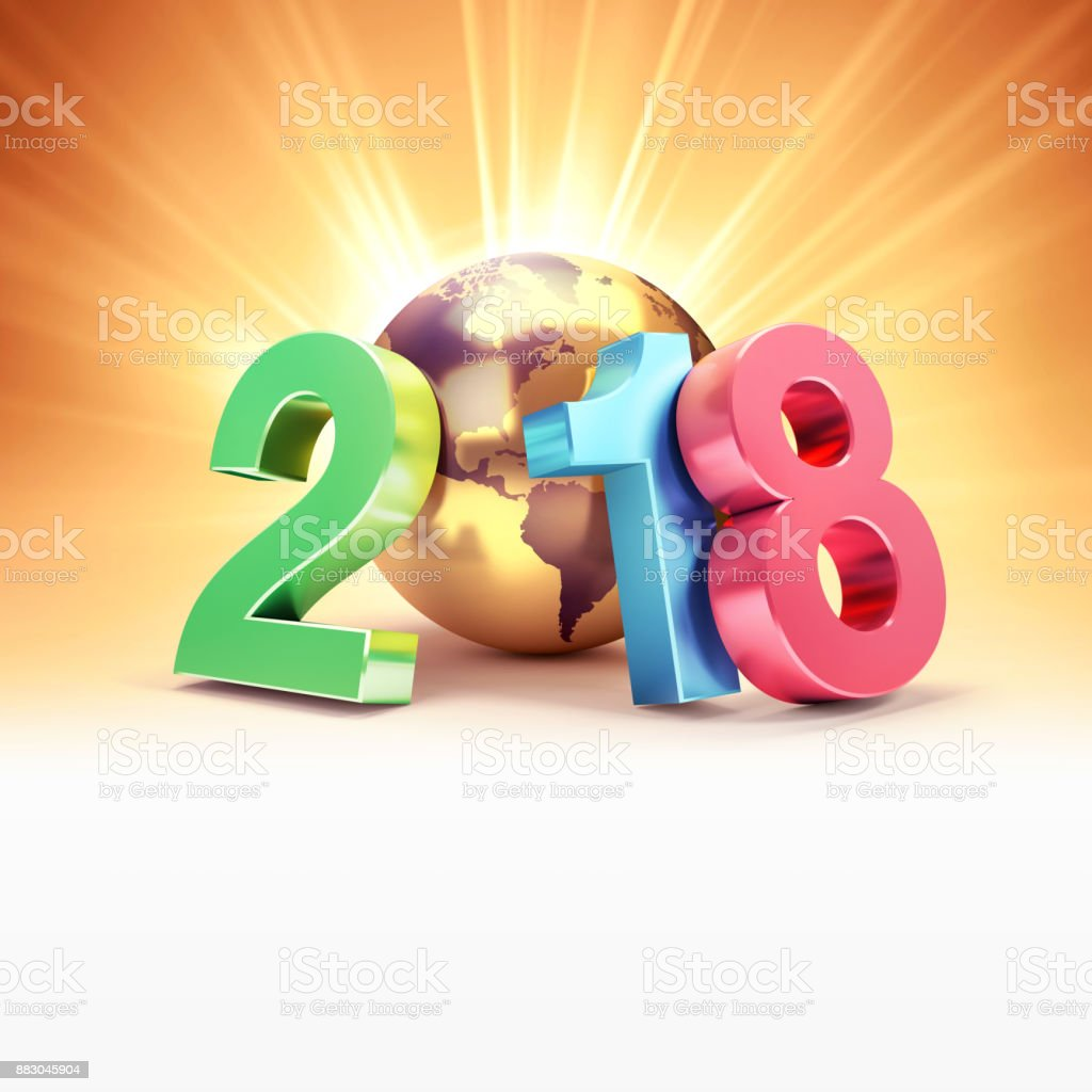 Happy New Year 2018 Symbol For Greeting Card Stock Photo More