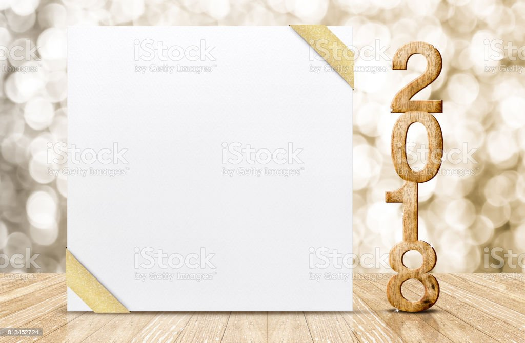 Happy New Year 2018 With Blank White Greeting Card With Gold Ribbon ...