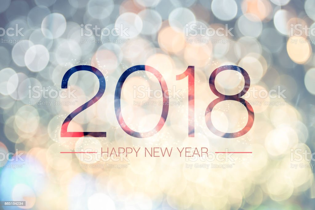 Happy new year 2018 with pale yellow bokeh light sparkling background,Holiday greeting card stock photo
