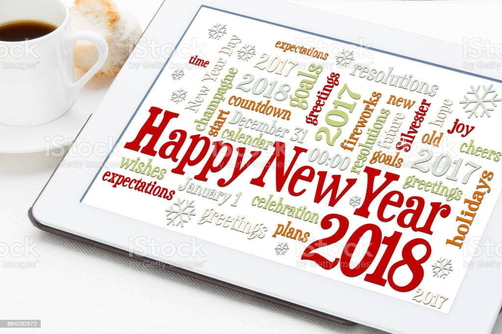 Happy New Year 2018 word cloud stock photo
