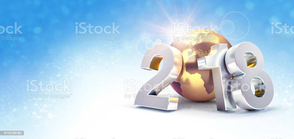 Happy New Year 2018 worldwide Greeting card stock photo