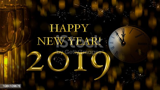 1049836902 istock photo Happy New Year 2019 almost twelve o'clock. 1084109676