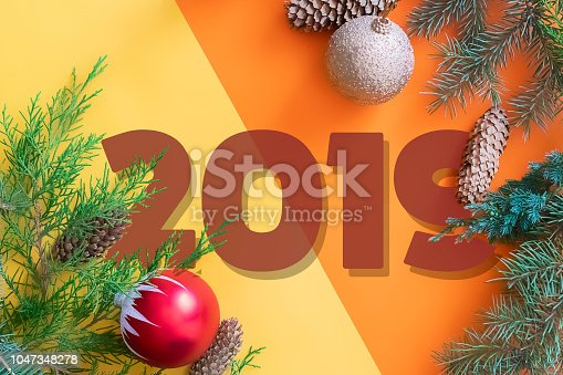 istock happy new year 2019 and merry christmas two color greeting card flat lay top view i 1047348278