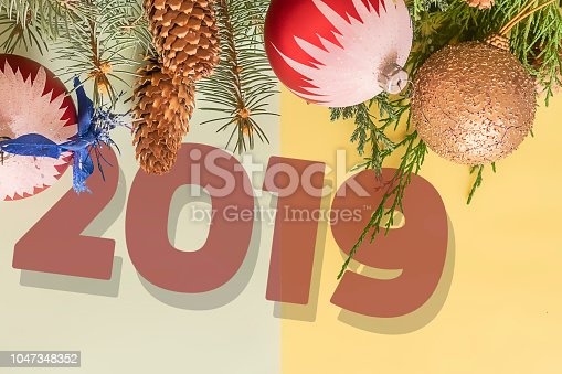istock happy new year 2019 and merry christmas two color greeting card flat lay top view i 1047348352
