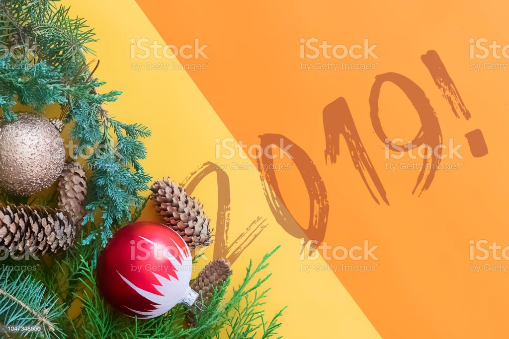 Happy new year 2019 and merry christmas two color greeting card flat lay top view i stock photo - New years colors 2019 ...