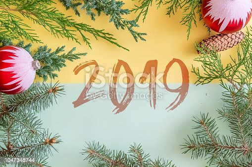 istock happy new year 2019 and merry christmas two color greeting card flat lay top view i 1047348744