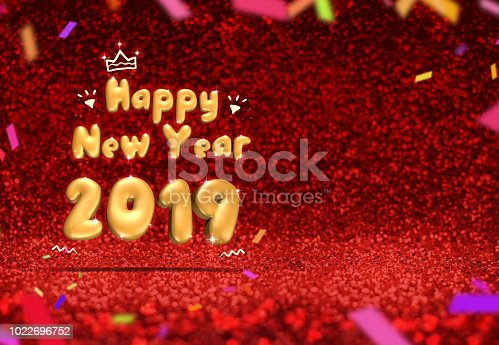 istock happy new year 2019 (3d rendering) at perspective red sparkling glitter with colorful confetti,Holiday greeting card design. 1022696752