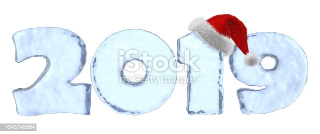 istock Happy New Year 2019 blue ice text with red hat 1045245594