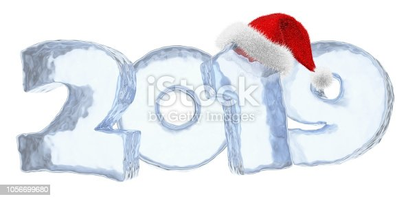 istock Happy New Year 2019 blue ice text with red hat 1056699680
