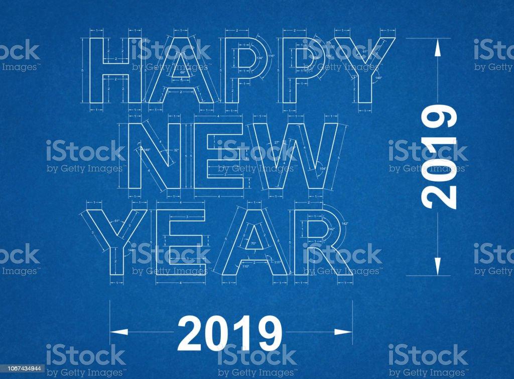 Frohes neues Jahr 2019 - Blueprint – Foto
