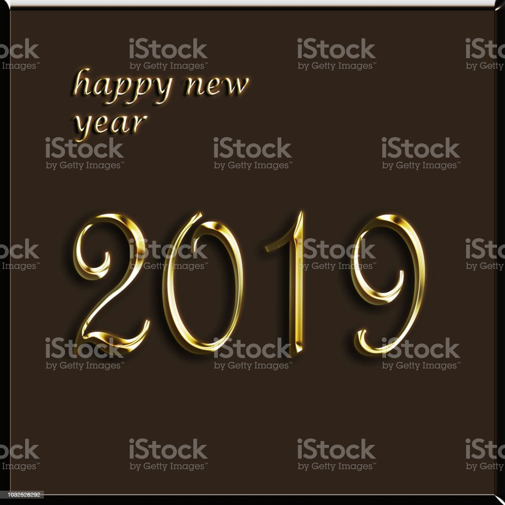 feliz ano novo - 2019 cartão - postal de Natal ilustração - foto de acervo