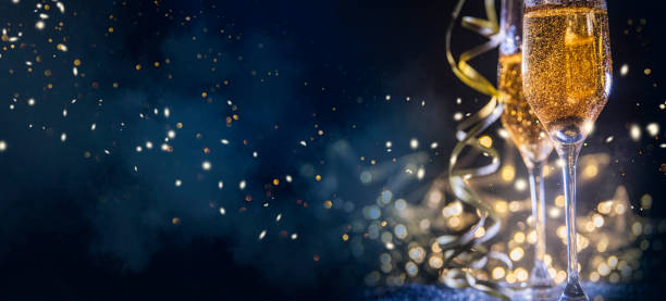 Happy New Year 2019! Christmas and New Year holidays background, winter season. stock photo