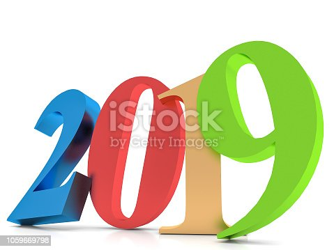 istock Happy New Year 2019 colorful , 3D rendering 1059669798