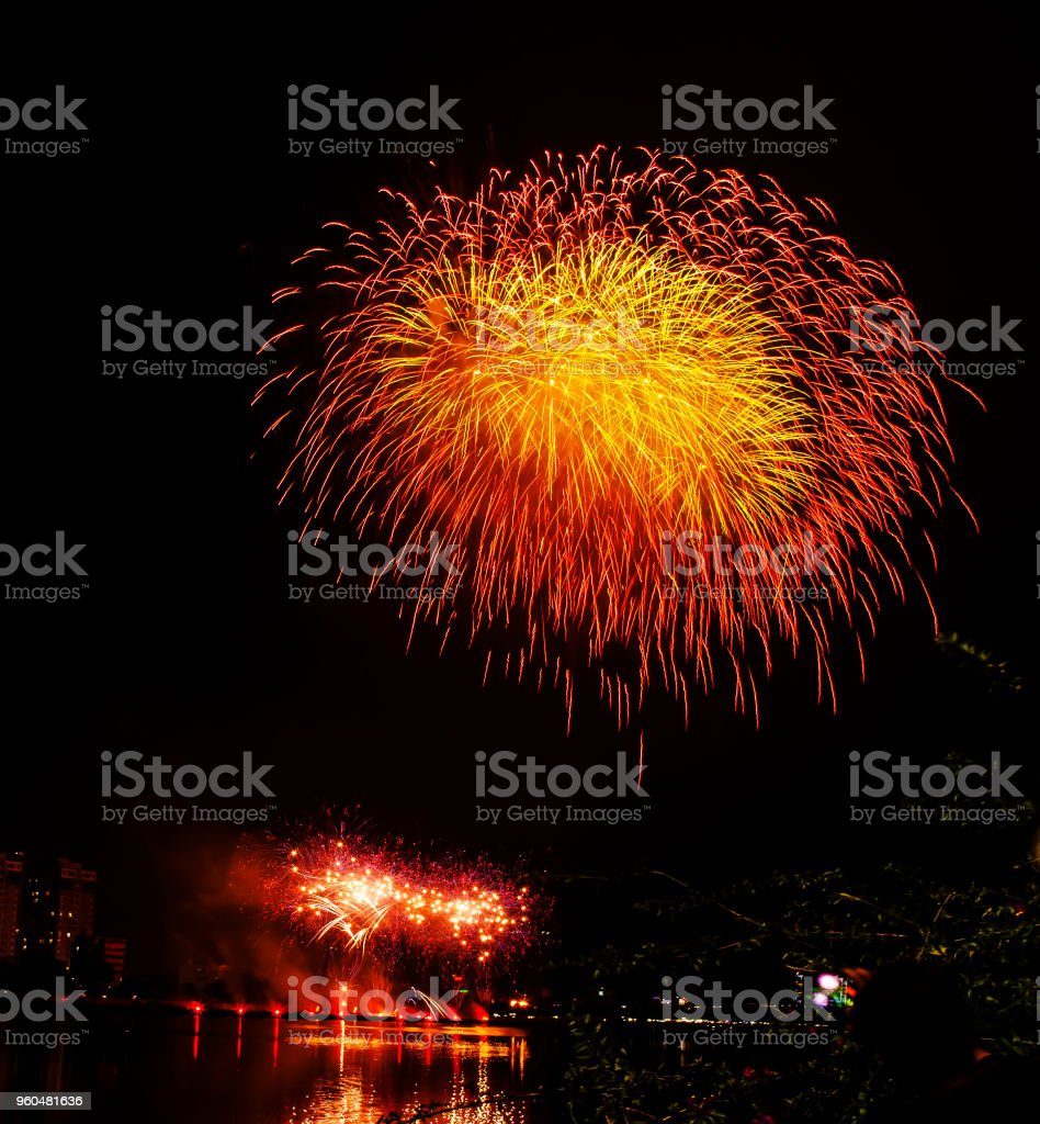 Happy new year 2019. Colorful fireworks in the city stock photo