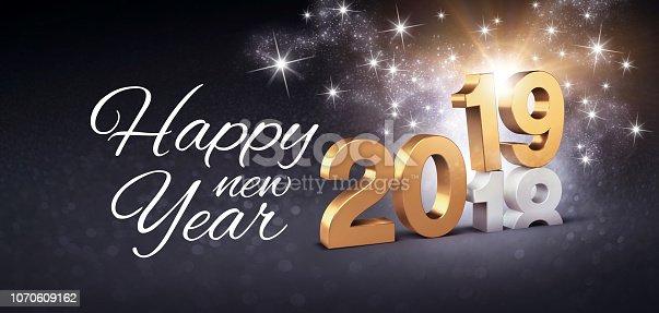 istock Happy New Year 2019 festive greeting card 1070609162