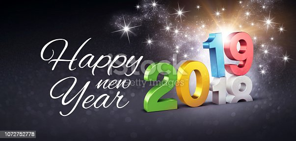 istock Happy New Year 2019 festive greeting card 1072752778