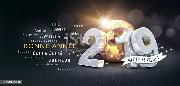istock Happy New Year 2019 French Greeting Card 1063938416