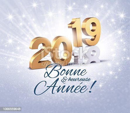 istock Happy New Year 2019 French greeting card 1066559648