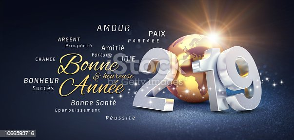 istock Happy New Year 2019 French Greeting Card 1066593716