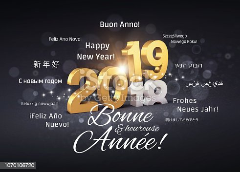 istock Happy New Year 2019 French Greeting card 1070106720