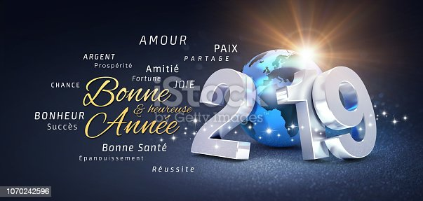 istock Happy New Year 2019 French Greeting Card 1070242596