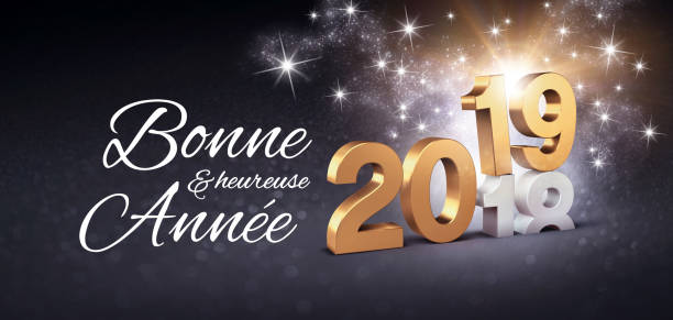 happy new year 2019 french greeting card - new years day stock pictures, royalty-free photos & images