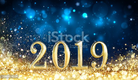 istock Happy New Year 2019 - Glitter Golden Dust 1050874234
