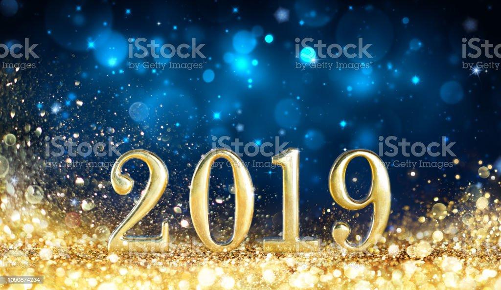 Glückliches neues Jahr 2019 - Glitzer goldenen Staub – Foto