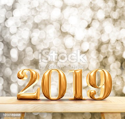 istock Happy New Year 2019 (3d rendering) gold glossy on modern wood table and leg with sparkling gold bokeh wall,Holiday celebration concept. 1014189468
