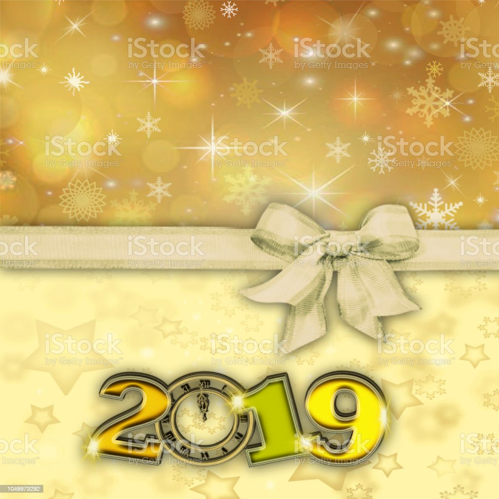 happy new year 2019 golden background with ribbon and bow royalty free stock