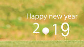 Happy new year 2019, Golf sport conceptual image
