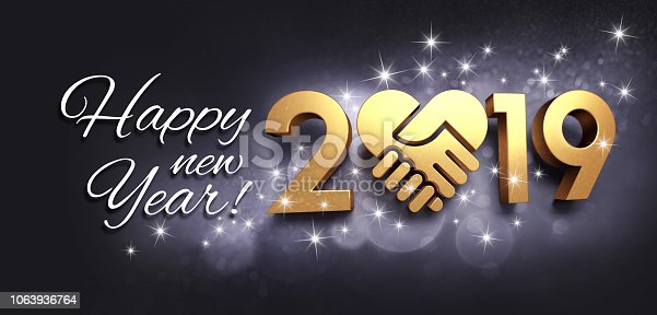 istock Happy New Year 2019 Greeting card for sharing 1063936764