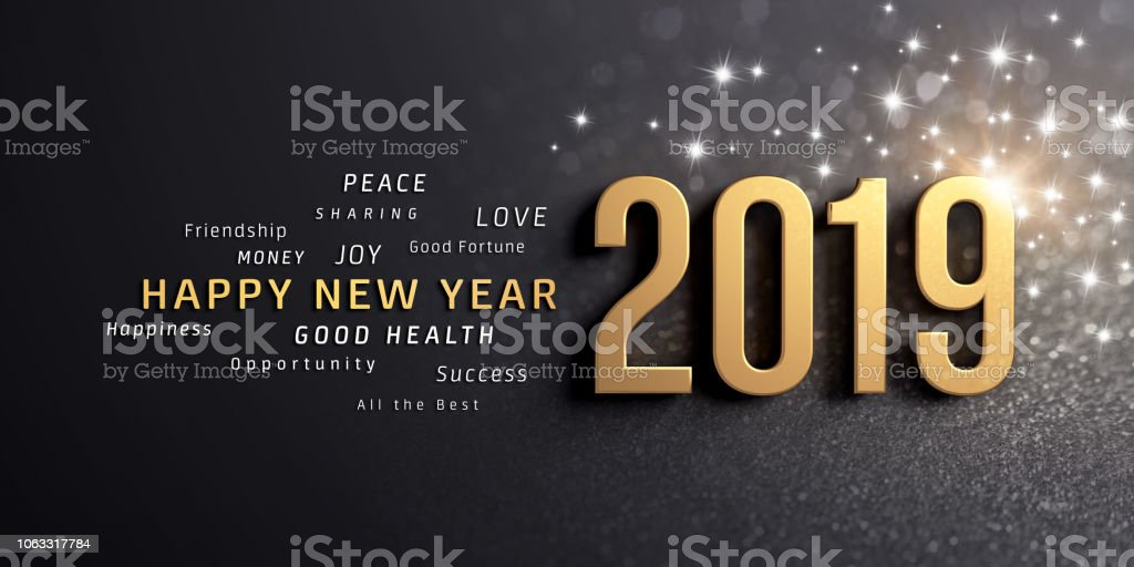 Happy New Year 2019 Greeting Card stock photo
