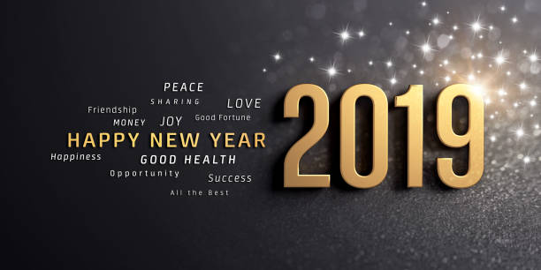 Happy New Year 2019 Greeting Card Happy New Year greetings and 2019 date number, colored in gold, on a festive black background, with glitters and stars - 3D illustration new year's eve stock pictures, royalty-free photos & images